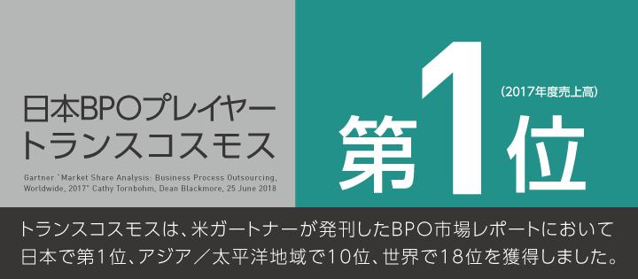 日本BPOプレイヤートランスコスモス 第1位(2017年度売上高)