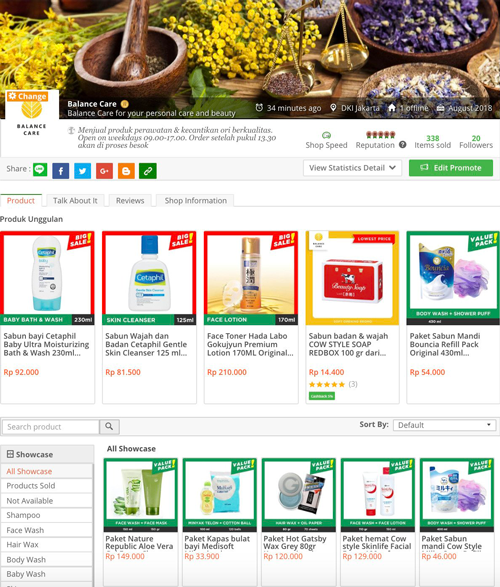 Visit BalanceCare, opened on Tokopedia