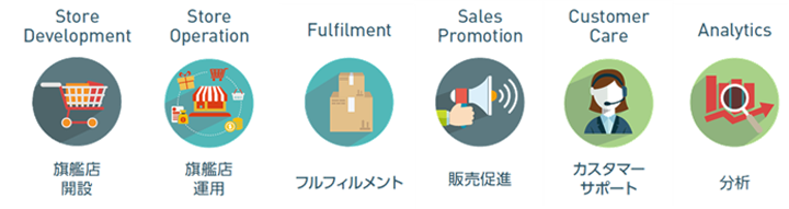 Store Development Store Operation fulfilment Sales Promotion Customer Care Analytics